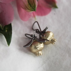 Pomegranate Earrings, bronze