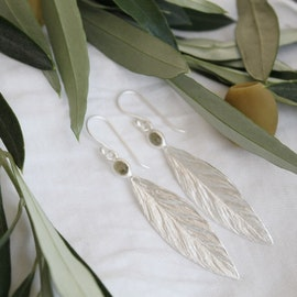 Santorini Olive Earrings - Silver