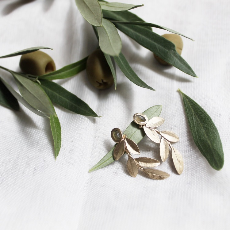 Wild Olive Earrings, bronze/gold