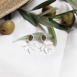 Olive Twig Earrings, silver