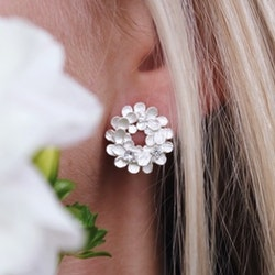 Bonanza Dahlia Earrings, Silver