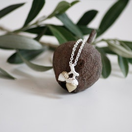 Seeds of Love Twin Acorn Halsband - Silver