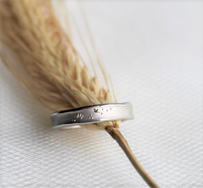 Misty Forest Henry-ringen från Lotta Jewellery är en herring med en twist. Ringens mitt är gjord i frostat guld, medan kanterna är gjorda i guld med glans.