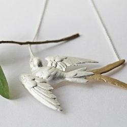 Fluttering Swallow Halsband - Silver