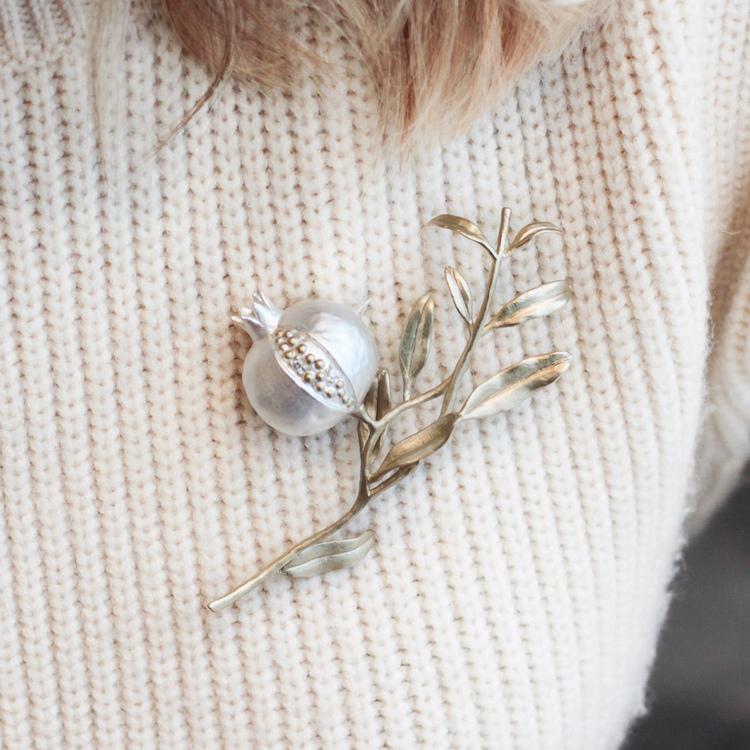 Pomegranate Tree Brooch, silver