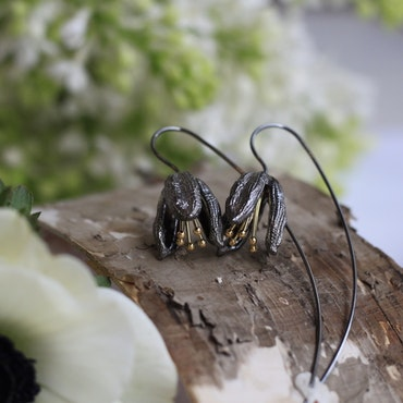 Snowdrop Earrings - Oxidized Dark Silver