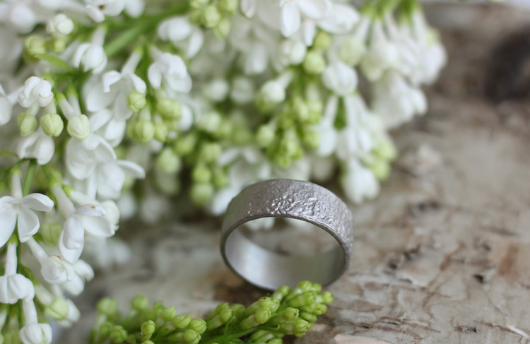 Misty Forest Cotton Mens Ring- Silver