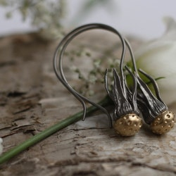 Dandelion Earrings, bronze