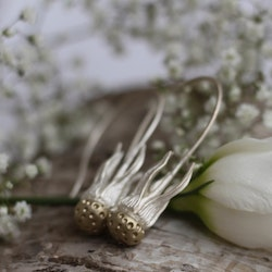 Dandelion Earrings, silver