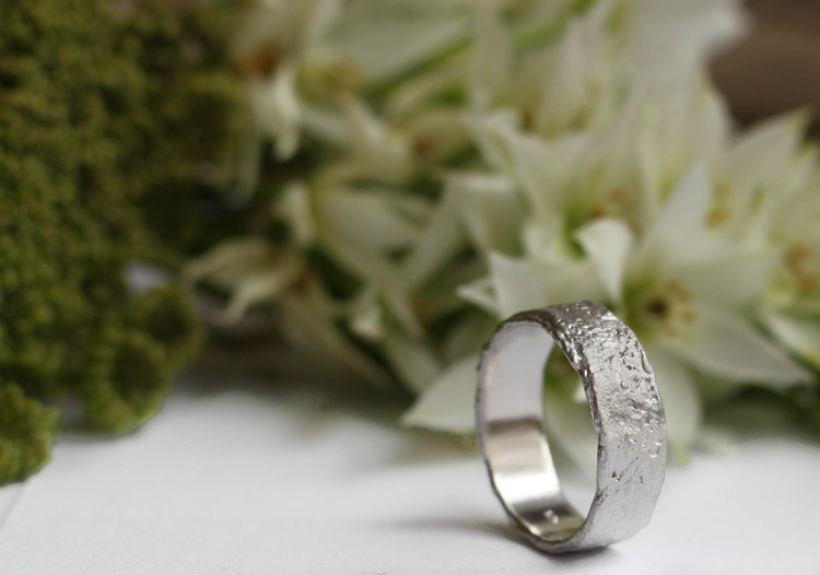Misty Forest Raw Mens Ring - Silver