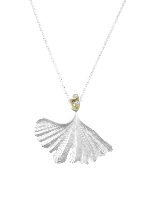 Flourishing Ginkgo Necklace, silver