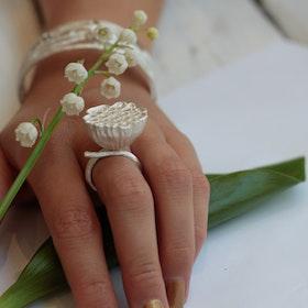 Lotus Silk Ring - Silver