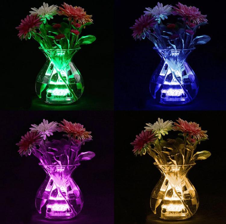 10st vattentäta LED puckar - 16 färger - Batteridrivna