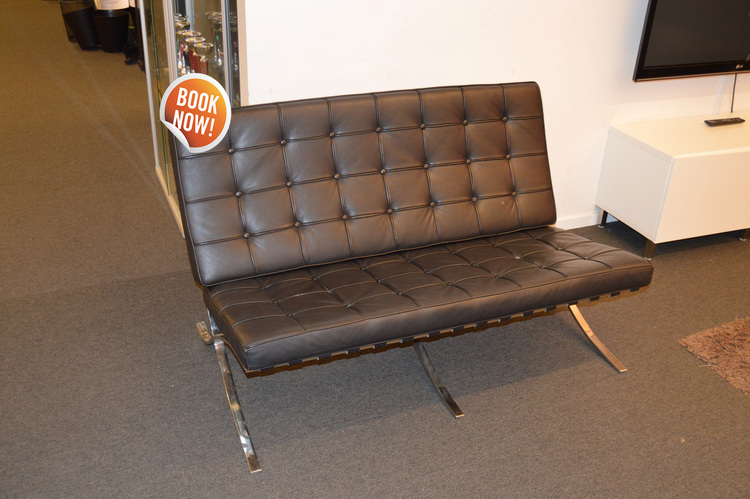 Hyr 2-sits svart Barcelona soffa