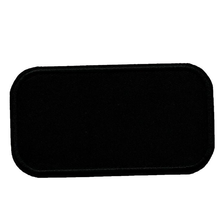 Tomt tygmärke / Laglapp med rundade hörn (svart / vit)