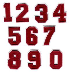 Nummer / siffror - Röd (0-9)