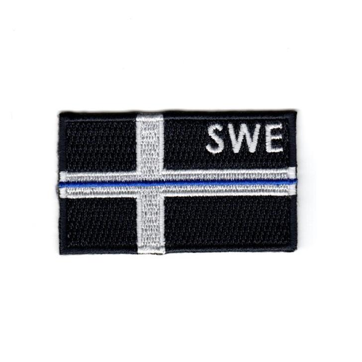 Tunna blå linjen - Swe-flagg - svart/vit