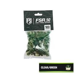 [First Strike] .50 Cal First Strike Rounds (FSR) - 100 rnd - Clear/Green