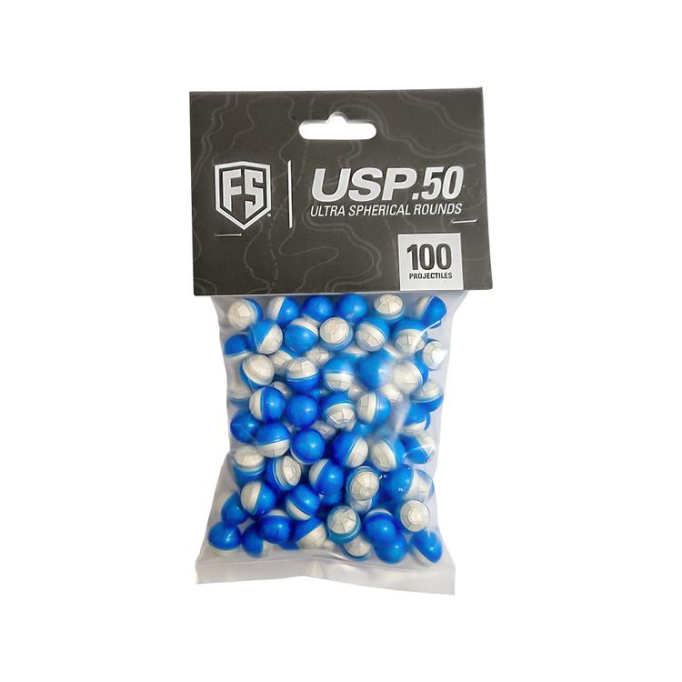 [First Strike] .50 Cal Ultra Sphere Rounds (USP) 100 rnd - Blue/White