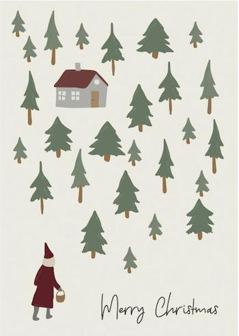 Julkort dubbel/tomte