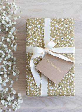 Presentpapper 'Flowers olive green'
