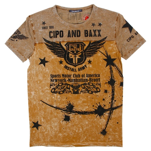 CIPO AND BAXX WASHED BLING SKULL TEE