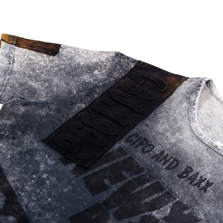 CIPO AND BAXX SOFT WASHED GRAY TEE