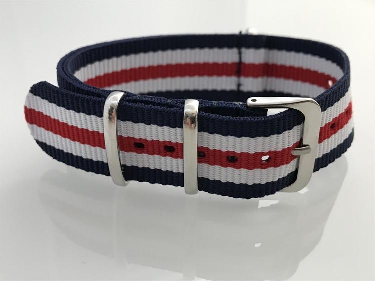 Blå/rött/vitt nylon