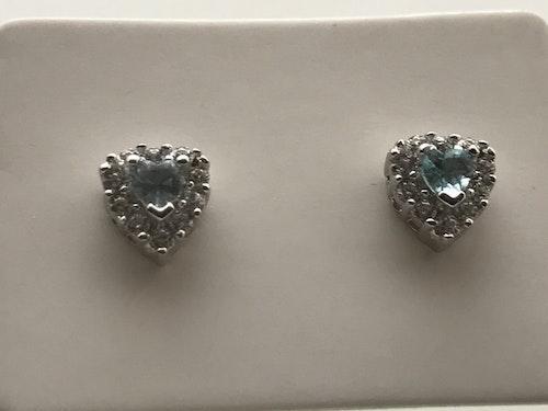 Örhängen, silver med akvamarin