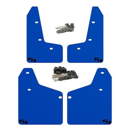 blå stänkskydd med svart logga