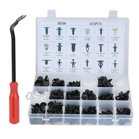 Mega-pack 415 stycken plast-clips, olika modeller + Verktyg!