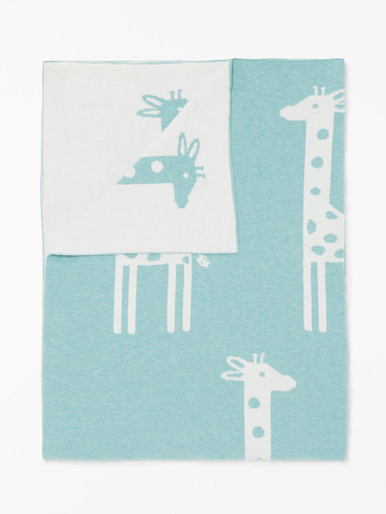 Finstickad bomullsfilt Giraff 75x100cm