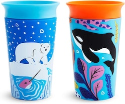 Munchkin Miracle 360 WildLove Cup 266 ml, 2 Pack, Polar Bear/Orca