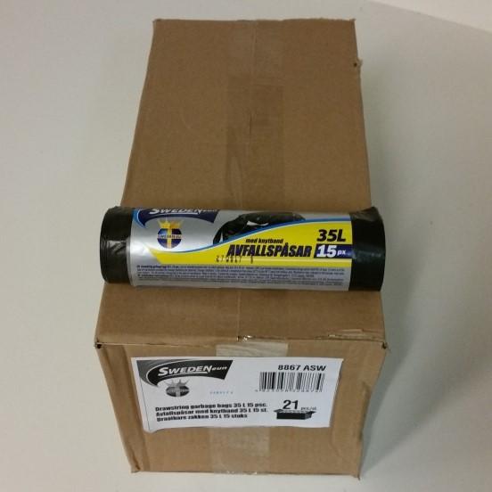 Avfallspåse med knytband 35L 15-pack