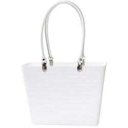 Liten med vita läderhandtag/ vit/ art nr 208-8