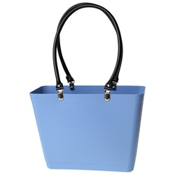 Liten med svarta läderhandtag / Bioplast / himmelsblå/ art nr 225-1