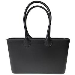 Stor Sweden Bag med långa läderhandtag/ svart/ art nr 101-1