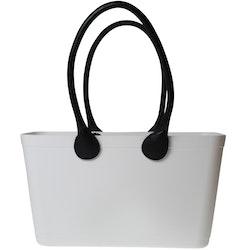 Stor Sweden Bag med långa läderhandtag/ vit/ art nr 108-1