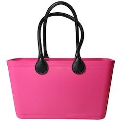 Stor Sweden Bag med långa läderhandtag/ magenta/ art nr 105-1