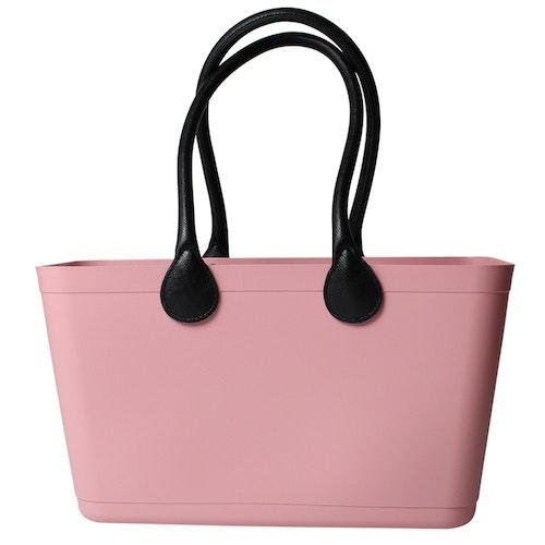 Stor Sweden Bag med långa läderhandtag / Bioplast/ dusty pink/ art nr 120-1