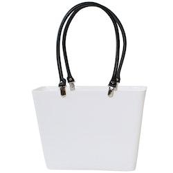 Liten med svarta läderhandtag/ vit/ art nr 208-1