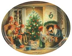 """Oval bricka """"Julaftons kväll"""""""