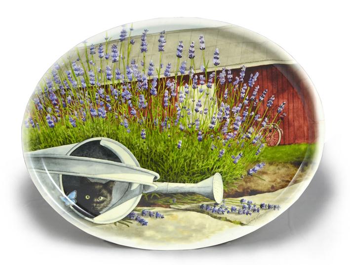 """Oval bricka """"Lavendelkatt"""""""