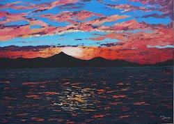 Akrylmålning med havsmotiv, 50 x 70 cm