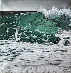 Akrylmålning med havsmotiv, 25 x 25 cm/Gåva