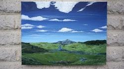 Akrylmålning med landskapsmotiv , 40 x 30 cm