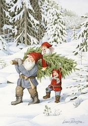 """Enkelt julkort """"Granhämtning"""", 1 st"""