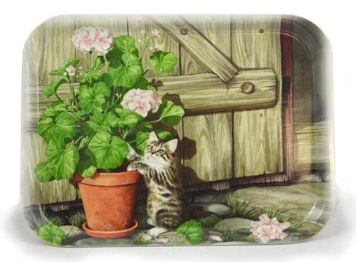 """Liten bricka, 27 x 20 cm, """"Pelargoniakatt"""""""