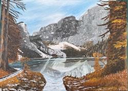 Akrylmålning med vinterlandskap, 50 x 70 cm/såld