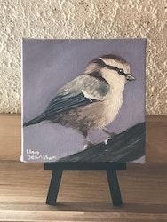 Liten tavla med fågel, 10 x 10cm/present